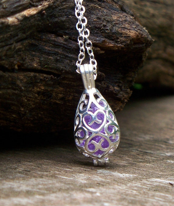 Recycled Amethyst Glass Bottle  Silver Filigree Teardrop Necklace