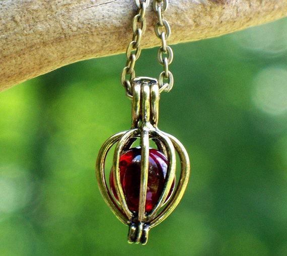 Recycled Ruby Beer Bottle Drop Necklace
