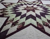 "JULY SALE 10% On Sale - A Star is Born Radiant Star queen size bed Quilt in burgundy, mint and off white 90"" x 97"""