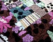 """Twilight in Prospect Park Lap Quilt 57"""" x 76"""" in pistachio, grape, jade, turqoise, lavender"""