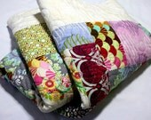 Drop Dead Gorgeous handmade LAP QUILT in Pink, Green, Blue and Ivory Minky backing