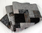 """Handmade Quilt for Him Manly Earl Grey Batik in smoke and onyx 65"""" x 90"""""""