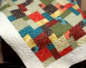 "Multicolor Patchwork lap Quilt QUILTLOVER'S SCRAPPY 56"" x 76"" minky backing"