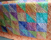 """Splash Batik Lap Quilt in Taffy colors and minkee backing 56"""" x 76"""" Ready to Ship"""