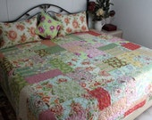 """Queen Bed Quilt with Fresh Cut by Heather Bailey  90"""" x 100"""" REVERSIBLE"""