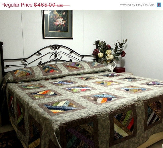"""Spring Madness Sale Supersize King Bed Quilt Strawberry Fields Forever 113"""" x 115"""" in earth tones"""