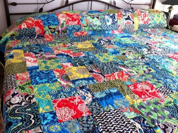 """Queen Bed Quilt with Lark by Amy Butler 86"""" x 94"""""""