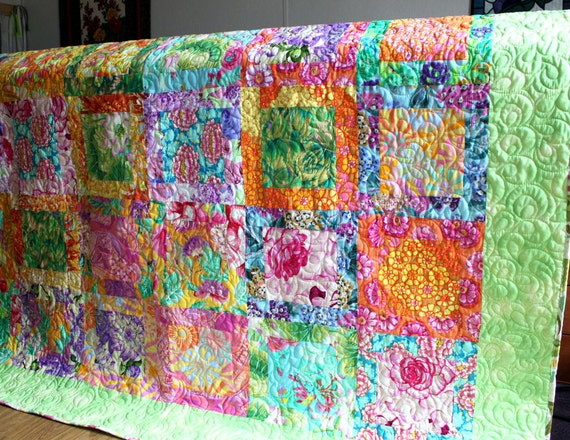 Oma's Garden Lap Quilt Bright Colorful ON SALE