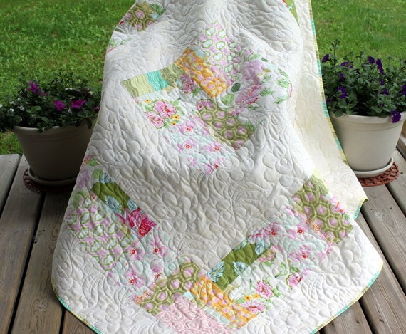 Handmade patchwork lap Quilt throw blanket  in white and pastel ON SALE