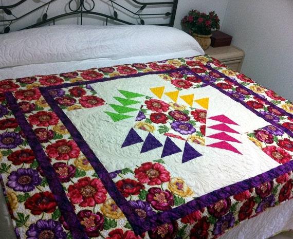 Poppy Love Patchwork Lap Quilt Bed Quilt Multicolor