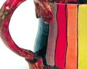 Ceramic Mug Rainbow Striped Roy G Biv Ready to Ship