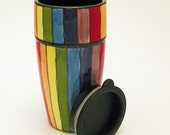 Roy G Biv Rainbow Striped Ceramic Travel Tumbler Cup