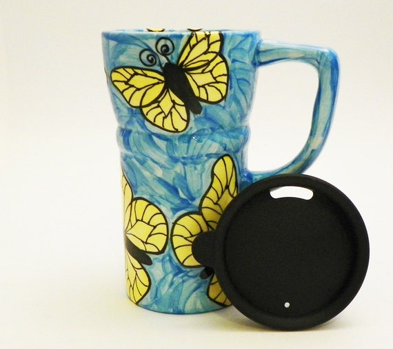 Ceramic Travel Mug with Lid Eco Friendly Yellow Butterfly on Blue Ready to Ship