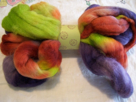 hand dyed corriedale x roving