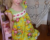 Fairytale flutter dress in Yellow Blossom Pick Your Size 12 months to 6 Years