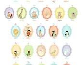 Animal ABC Portraits Large Alphabet Print Children's Wall Art -Nursery art prints, baby nursery, nursery decor, nursery wall art, kids art