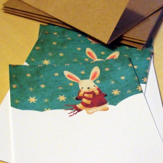 Winter Bunny Flat Notecards Set of 8