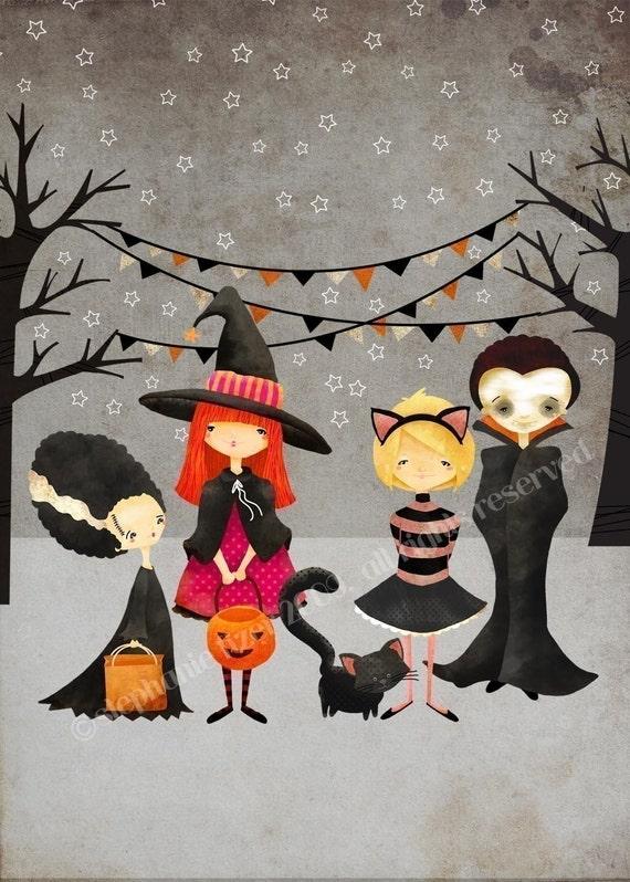 Items similar to Halloween Art Print --The Boo Crew Print ...