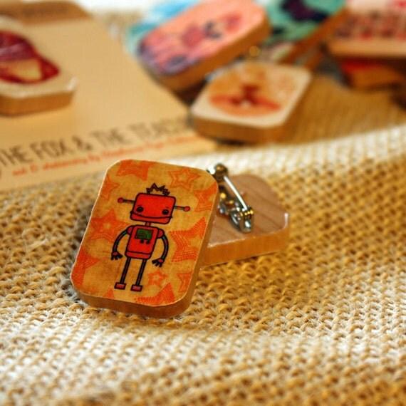 orange robot handmade wooden brooch