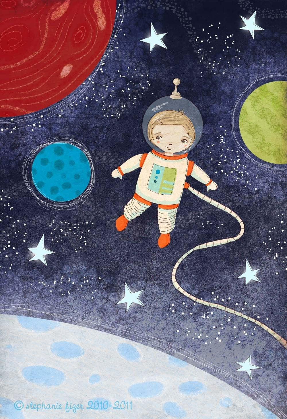Outer space child 39 s wall art over the moon by for Outer space childrens decor