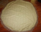 VIntage Tapestry/Brocade Round Fringed Tablecloth - Light Golden Color