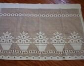 Lot of Vintage Lace Curtain Panels, Vintage Linen Napkins, Vintage Valance