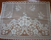 Lot of 6 Vintage Lace Curtain Panels and Vintage Lace Table Runner