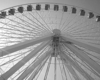Chicagos Navy Pier Ferris Wheel, 5x7 black and white, historical, fine art print