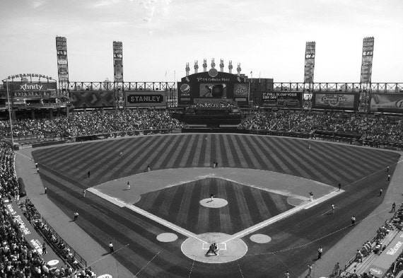 Chicago White Sox, US Cellular Field, 8x12, black and white fine art print