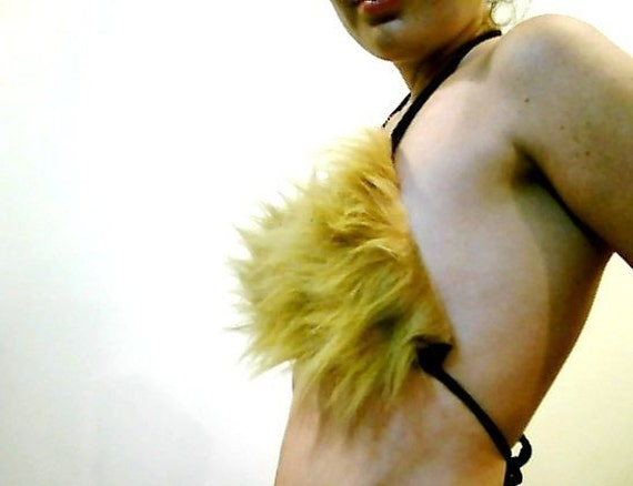 Light Brown Faux Lions Fur Bikini Top Size Small A or B cup BRA 28