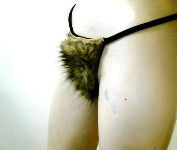 Ridiculous Pubic Hair Thong Panties One Size Fits Most Adjustable Free Size MERKIN 25