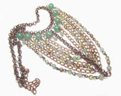 Vintage Copper Chains and Green Crystal Necklace