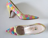Vintage 1960s Kitten Rainbow Embroidered Heels Pumps Shoes