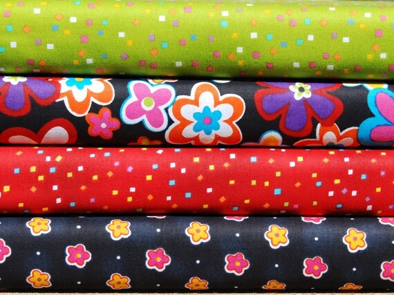 CLEARANCE Half Yard Bundle of 4 - Floral and Confetti by A.E. Nathan CO.