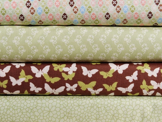 Fat Quarter Bundle of 4 - Flutter by Alliston Jane Smith in Green and Brown