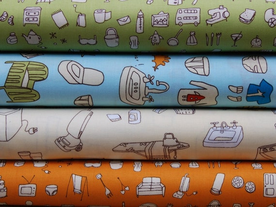 SALE Half Yard Bundle of 4 - A Day In The Life by Robert Kaufman