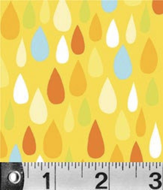 """RESERVED 3 Yards and 32"""" -Carolyn Gavin - Spring Street -  Raindrops in Yellow"""