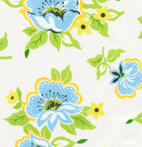 SALE  1 Yard of Nicey Jane by Heather Bailey - Church Flowers in Blue