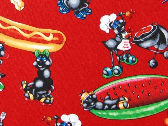 CLEARANCE 1 yard of Fabri-Quilt - Party Ants - Picnic in Red
