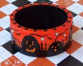 Orange and Black Jack O'Lanterns & Bats Halloween Bangle MEDIUM MHA AHQU