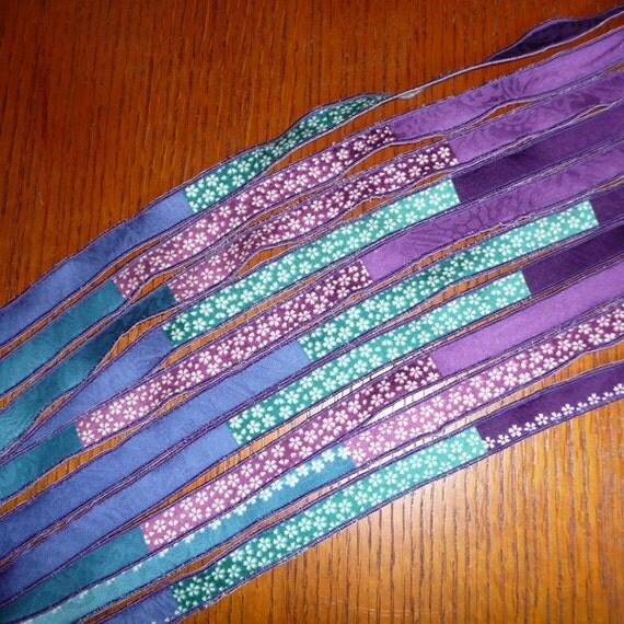 "Variegated Purple to Aqua Japanese Handmade Cotton Fabric Ribbon 42"" thinner (5)"