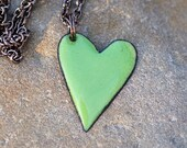 Reserved for monique Enamel Heart Pendant Copper Necklace Enameled Jewelry Green - Spring Fling