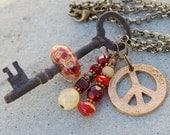 Skeleton Key Boro Glass Beaded Necklace Peace