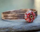 Bangle Bracelet, Bronze, Boro Lampwork, Borosilicate Glass Beaded Jewelry Red, Purple - Keeping Up