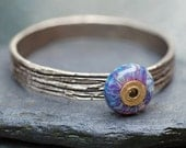 Bangle Bracelet, Bronze, Boro Lampwork, Borosilicate Glass Beaded Jewelry Purple - The Wild Secret