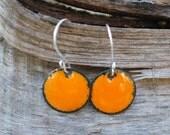 Earrings, Enamel Copper, Small Disc, Enameled Jewelry, Orange