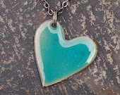 Reserved for Jackie Enamel Heart Pendant Necklace Copper Enameled Jewelry Blue Green