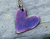 Enamel Heart Pendant Necklace Copper Enameled Jewelry Amethyst
