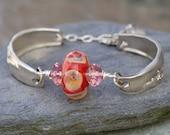 Lampwork Silverware Bracelet Boro Glass Bead Antique Spoon Jewelry - Her Style