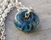 Glass Bead Necklace Boro Lampwork Focal Large Handmade Blue Pendant Jewelry - Blue Jazz